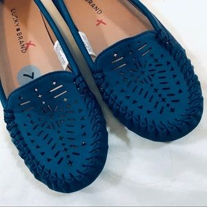 NWOB Lucky Brand Blue Moccasin Flats